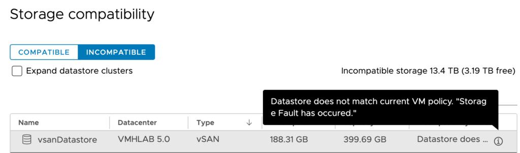 vSAN Datastore not compatible