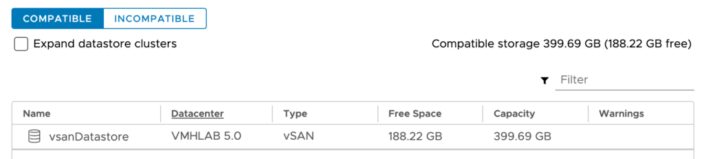 vSAN Datastore Compatible